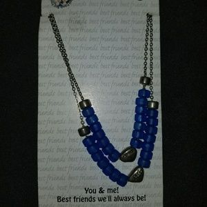 Other - Best friends necklace set. Blue and silver beads